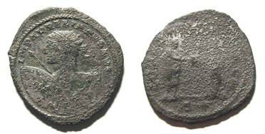 Ancient Coins - AURELIAN. VERY RARE ANTONINIAN. F. UNFREQUENT BUST W/ LARGE SHIELD