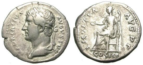 "Ancient Coins - HADRIAN. DENAR. LEFT SIDE PORTRAIT. ""IUSTITIA"" REFERENCE. RARE ISSUE"