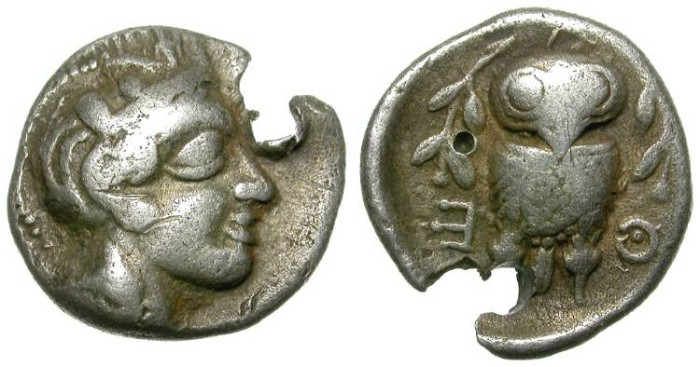 Ancient Coins - ATTICA. RARE HEMIDRACHM. HOLED BUT STILL COLLECTABLE. VERY INTERESTING