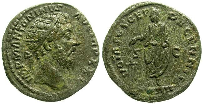 Ancient Coins - MARC AUREL. DUPONDIUS. NICE PATINA. GOOD RELIEF ON BOTH SIDES