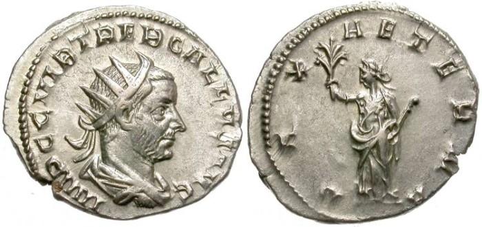 Ancient Coins - TREBONIANUS GALLUS. A.D. 251 _253. SILVER ANTONINIANUS. GOOD QUALITY.