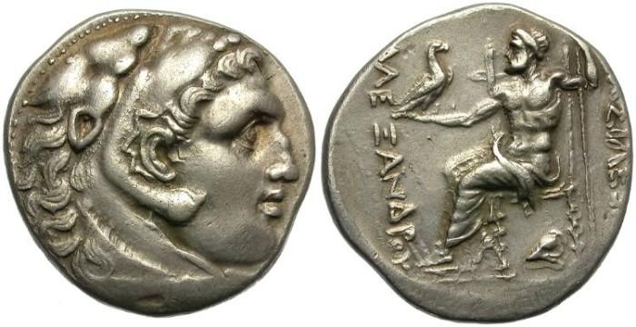 Ancient Coins - ALEXANDER THE GREAT.  SILVER TETRADRACHM.  PELLA??  ATTRACTIVE REVERSE. RARE.