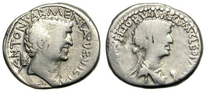 Ancient Coins - MARC ANTHONY & CLEOPATRA. DENAR. VERY DECENT SAMPLE OF A DESIRED AND EMBLEMATIC  PIECE