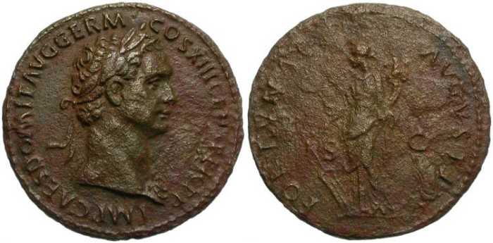 Ancient Coins - DOMITIAN. AE AS. DARK BROWN PATINA. SUCH AN ATTRACTIVE PORTRAIT.