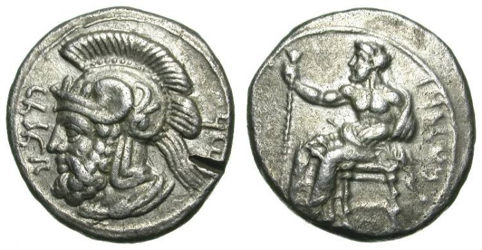 Ancient Coins - TARSUS in CILICIA. STATER. PHARNABAZOS. BEAUTIFUL COIN !