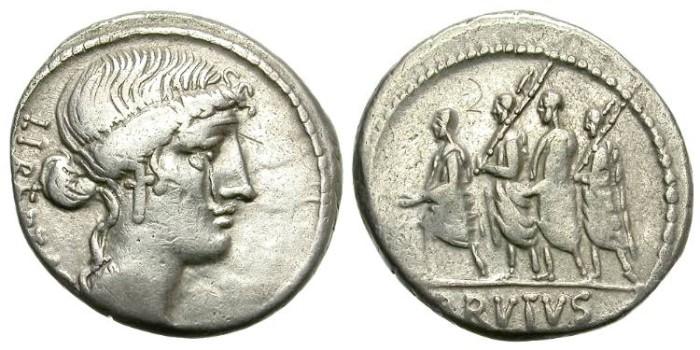 Ancient Coins - ROMAN REPUBLIC. JUNIUS. BRUTUS. 54 B.C. SILVER DENARIUS. AFFORDABLE COIN.