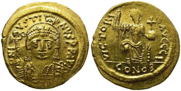 Ancient Coins - IUSTINUS II.  565-578 AD.  SOLIDUS.  ATTRACTIVE PORTRAIT.