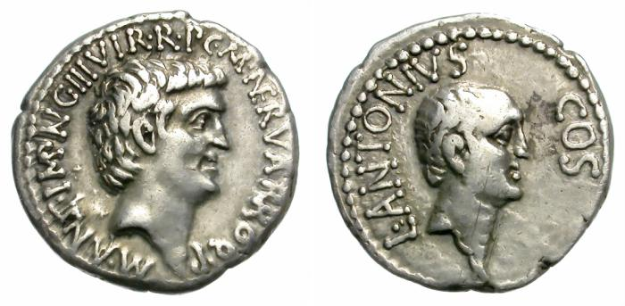 Ancient Coins - MARC ANTHONY. SILVER DENARIUS. LUCIUS ANTONIUS ON REV. VERY RARE. NICE ISSUE