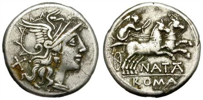 Ancient Coins - ROMAN REPUBLIC. PINARIUS 1. NATTA. 149 BC. AR DENARIUS. AFFORDABLE. GOOD GENERAL CONDITION.