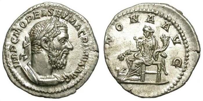 Ancient Coins - MACRINUS: DENAR: ANNONA REVERSE: NICE ISSUE
