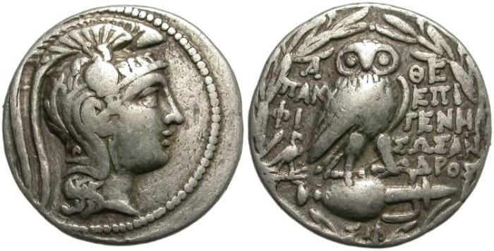 Ancient Coins - ATHENS.  CIRCA 168/5 -50 B.C. AR NEW  STYLE  TETRADRACHM. ATTRACTIVE COIN./1