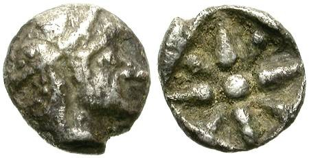 Ancient Coins - SILVER GREEK FRACTION. HEMIOBOL. RARE AND INTERESTING. UNPUBLISHED ?