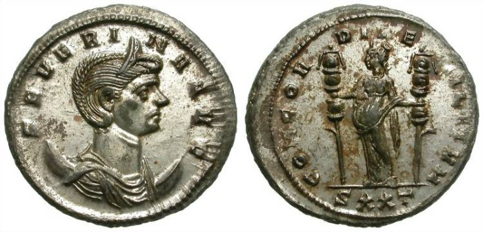 Ancient Coins - SEVERINA. AE ANTONINIAN. MOSTLY SILVERED. AMAZING QUALITY !
