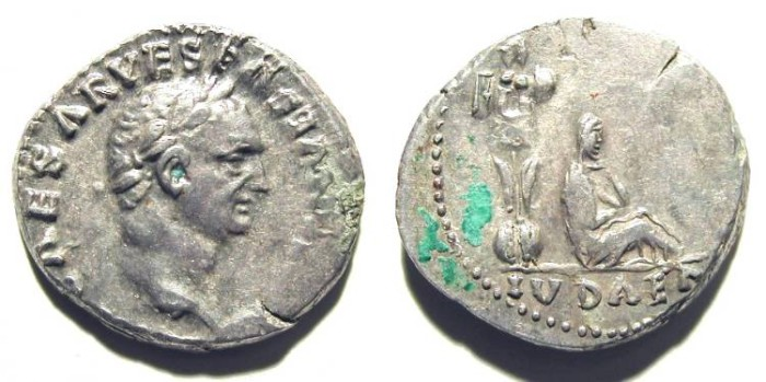 Ancient Coins - VESPASIAN. JUDEA DENAR. Almost EF. Uncleaned. GREAT QUALITY !
