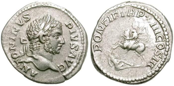 Ancient Coins - CARACALLA.  AR DENARIUS.  ROME MINT. INTERESTING PRICE.