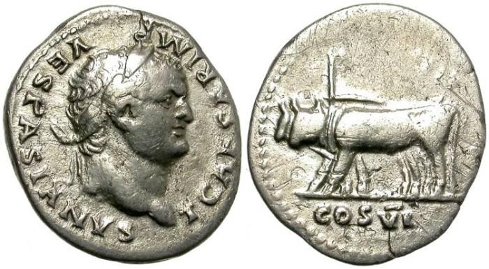 Ancient Coins - TITUS AS CAESAR. A.D. 78 - 79.  AR  DENARIUS.  NICE  COIN.