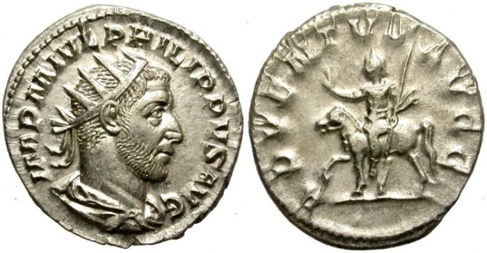 Ancient Coins - PHILIP I. (AD 244-249) SILVER ANTONINIAN. EXCELLENT BUST. WELL STRUCK./2