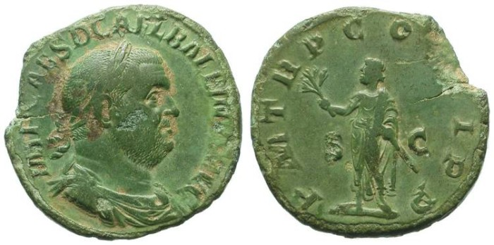 Ancient Coins - BALBINUS. SESTERZ. RARE. SO NICE PATINA, IN SPITE OF SOME SURFACE PITTING. PRICE OPPORTUNITY