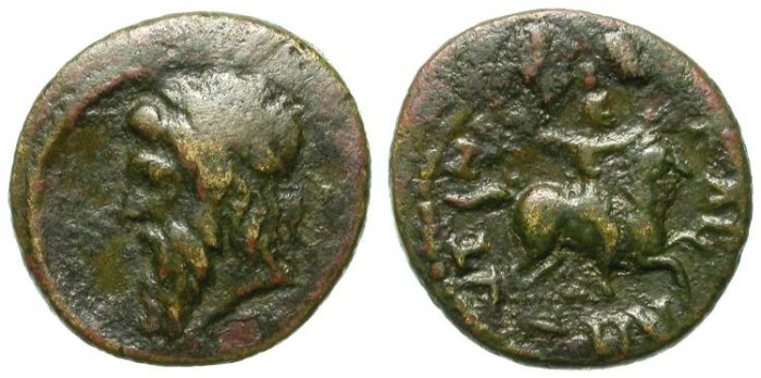 Ancient Coins - INTERESTING GREEK BRONZE. CHOMA, IN LYCIA. ELEGANT DEITY PORTRAITURE