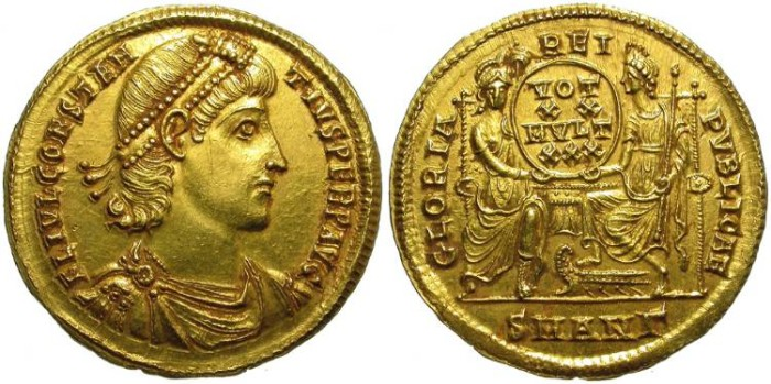 Ancient Coins - CONSTANTIUS II.  GOLD SOLIDUS.  EXCEPCIONAL QUALITY.  SO BEAUTIFUL.