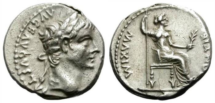 "Ancient Coins - TIBERIUS. SILVER DENARIUS. ""TRIBUTE PENNY"". BIBLICAL DENARIUS"