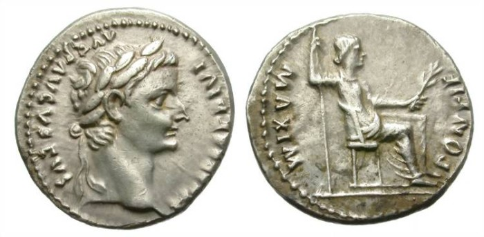 "Ancient Coins - TIBERIUS. SILVER DENARIUS. ""Tribute penny"".  BEAUTIFUL BUST AND NICE TONING."
