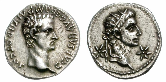 Ancient Coins - CALIGULA. SILVER DENARIUS. DIVUS AUGUSTUS ON REV. WELL CENTERED AND ATTRACTIVE /2
