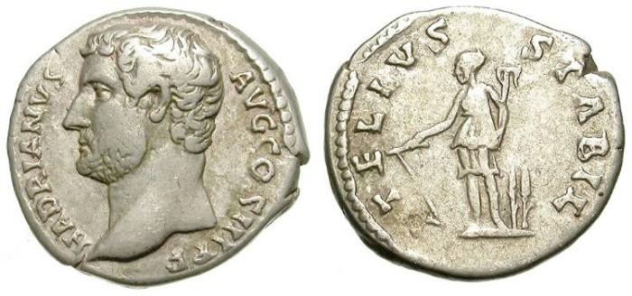 Ancient Coins - HADRIAN. DENAR. LEFT SIDE PORTRAIT. RARE !