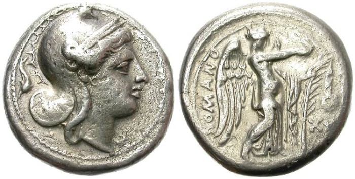 "Ancient Coins - EARLY ROMAN SILVER COINAGE. DIDRACHM. ""ROMANO"" SERIES. RARE !"