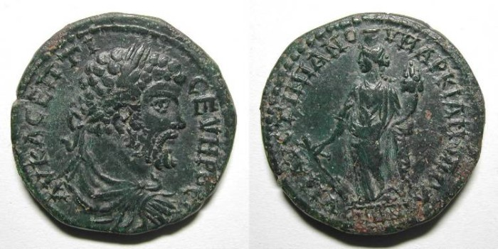 Ancient Coins - SEPTIMIUS SEVERUS. PROVINCIAL ISSUE. MARKIANOPOLIS. NICE DARK GREEN PATINA !