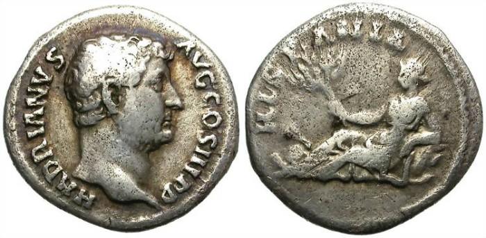 Ancient Coins - HADRIAN. HISPANIA. ROMAN SILVER DENARIUS. INTERESTING PIECE
