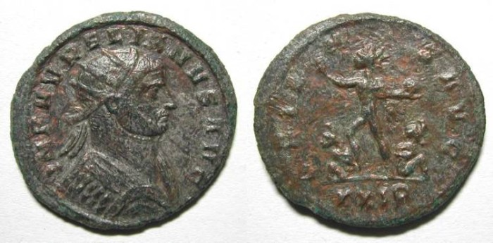 Ancient Coins - AURELIAN. ANTONINIAN. a VF. INTERESTING BUST SEEN FROM BACK