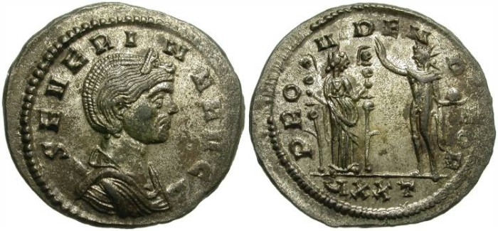 Ancient Coins - SEVERINA.  WIFE OF AURELIAN. AE ANTONINIANUS. TICINUM MINT. ORIGINAL SILVERING.