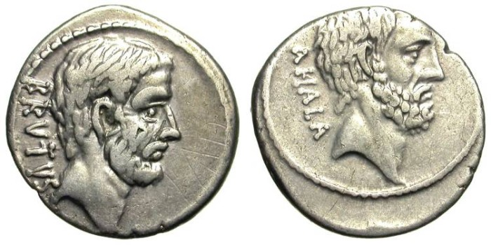 Ancient Coins - BRUTUS-AHALA. DENAR. NICE REPUBLICAN PORTRAITS !