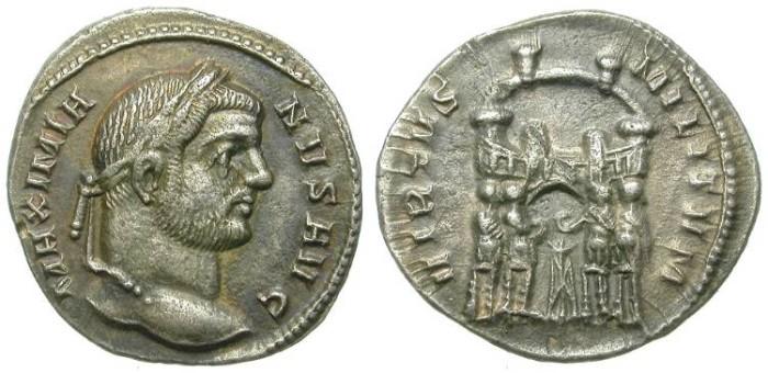 Ancient Coins - MAXIMIANUS. SILVER ARGENTEUS. RARE TETRARCHY PERIOD SILVER DENOMINATION