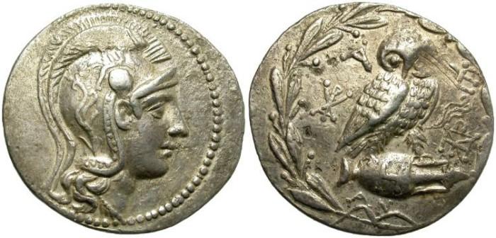Ancient Coins - ATHENS, ATTICA. SILVER TETRADRACHM. NEW STYLE.
