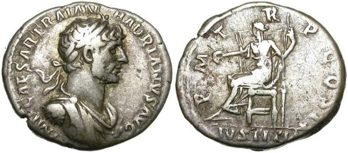 Ancient Coins - HADRIAN. SILVER DENARIUS. CUTE BUST TYPE