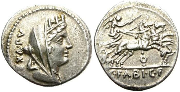 Ancient Coins - ROMAN REPUBLIC. FABIA. SILVER DENARIUS. GOOD SILVER CONDITION. ATTRACTIVE.