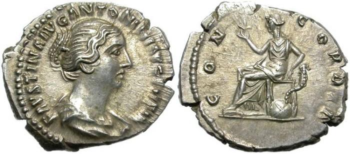Ancient Coins - FAUSTINA II. SILVER DENARIUS. IRREGULAR FLAN BUT GREAT QUALITY.