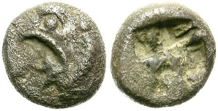 Ancient Coins - PHOKAIA, IONIA. SILVER OBOL. GRIFFONS HEAD AND INCUSE SQUARE