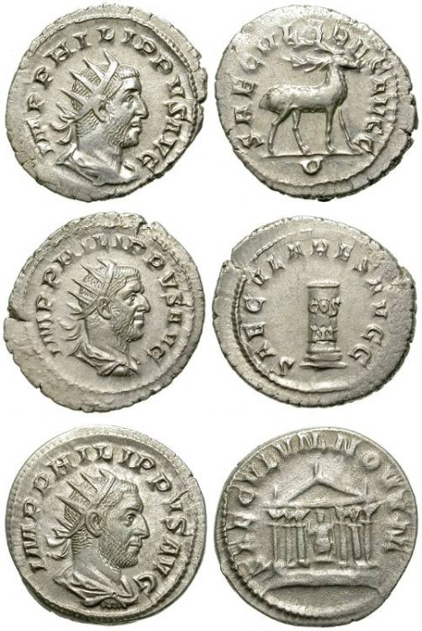 Ancient Coins - LOT OF 3 INTERESTING SILVER ANTONINIANUS OF PHILIP I. NICE CONDITION