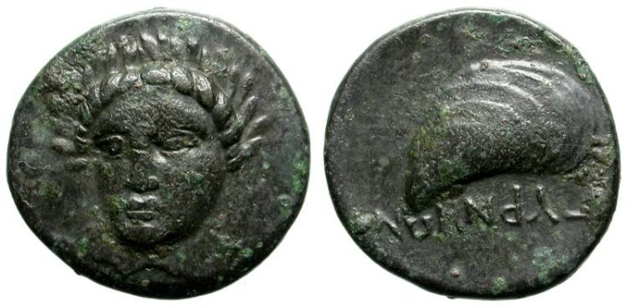 Ancient Coins - GYRNEON, AEOLIS. BEAUTIFUL & RARE GREEK BRONZE COIN. NICE VF. SO UNIQUE ANIMAL ON REVERSE !