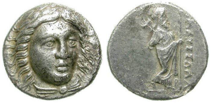 Ancient Coins - MAUSOLLOS, SATRAP OF CARIA. DRACHM. NICE AND ATTRACTIVE ISSUE