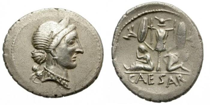 Ancient Coins - IULIUS CAESAR. SILVER DENARIUS. NICE AND ATTRACTIVE ISSUE