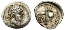 Ancient Coins - ROMAN IMPERATORIAL PERIOD. C. DOMITIUS CALVINUS. SILVER DENARIUS. RARE ! 1/2