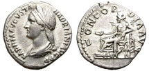 Ancient Coins - SABINA. DENAR. ROME. VERY RARE OBVERSE TYPE WITH BUST LEFT.