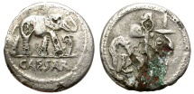 Ancient Coins - ROMAN IMPERATORIAL. FOUREE DENARIUS. JULIUS CAESAR. RARE ISSUE