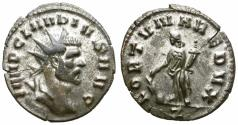Ancient Coins - CLAUDIUS II GOTHIC. BILLON ANTONINIAN. RARE TYPE. MUCH OF ITS ORIGINAL SILVERING STILL REMAINING