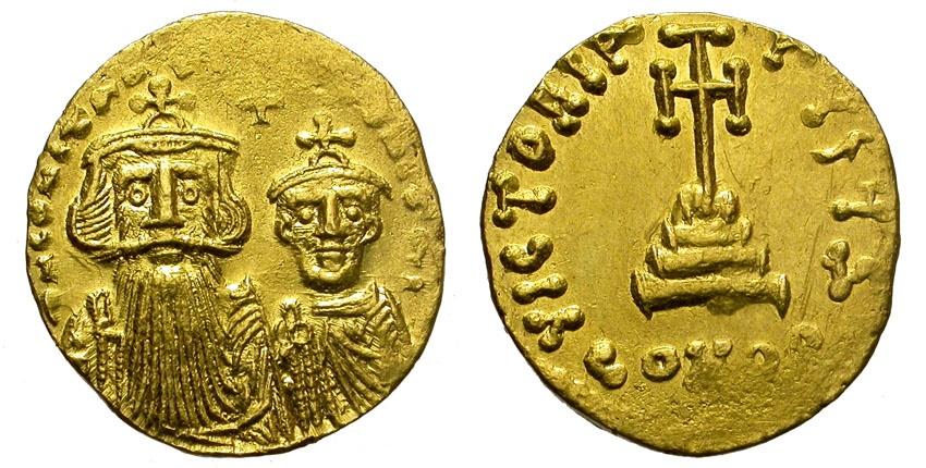 Ancient Coins - BIZANTINE EMPIRE. CONSTANS II W/ CONSTANTINE IV. 641-668. AU SOLIDUS.  CONSTANTINOPOLIS