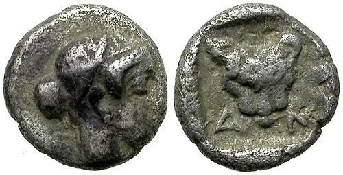 Ancient Coins - AKANTHOS (?), MACEDON. TRITARTEMORION. VERY RARE.